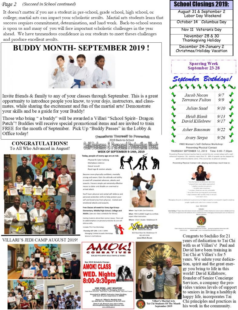 Villaris Martial Arts NEWSLETTER Sep 2019 p2 villaris-ri.com