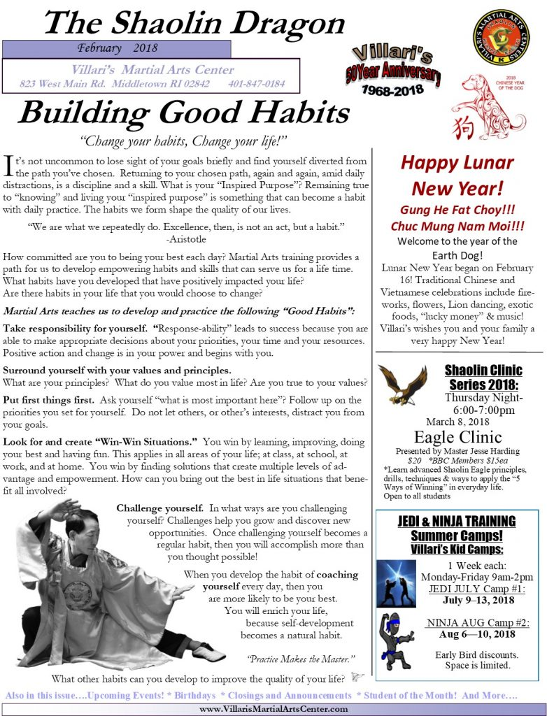 Villari's Martial Arts Newsletter Feb 2018 P.1