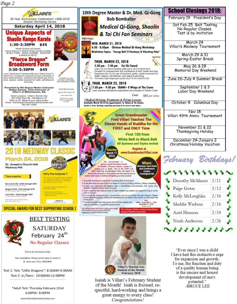 Villari's Martial Arts Newsletter Feb 2018 P.2