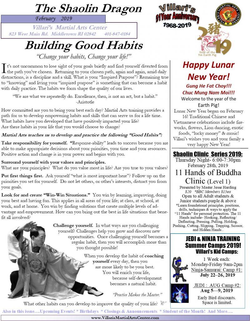 Villari's Martial Arts Newsletter Feb 2019 villaris-ri.com p1