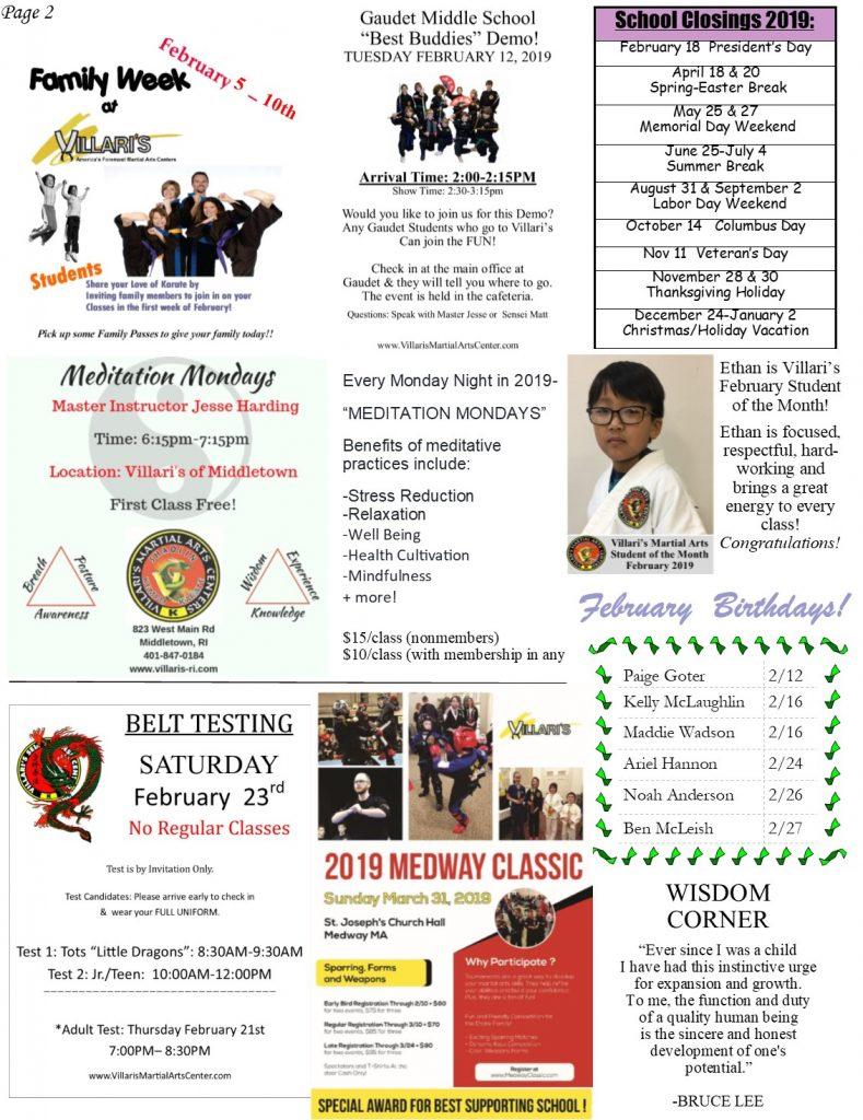 Villari's Martial Arts Newsletter Feb 2019 villaris-ri.com p2