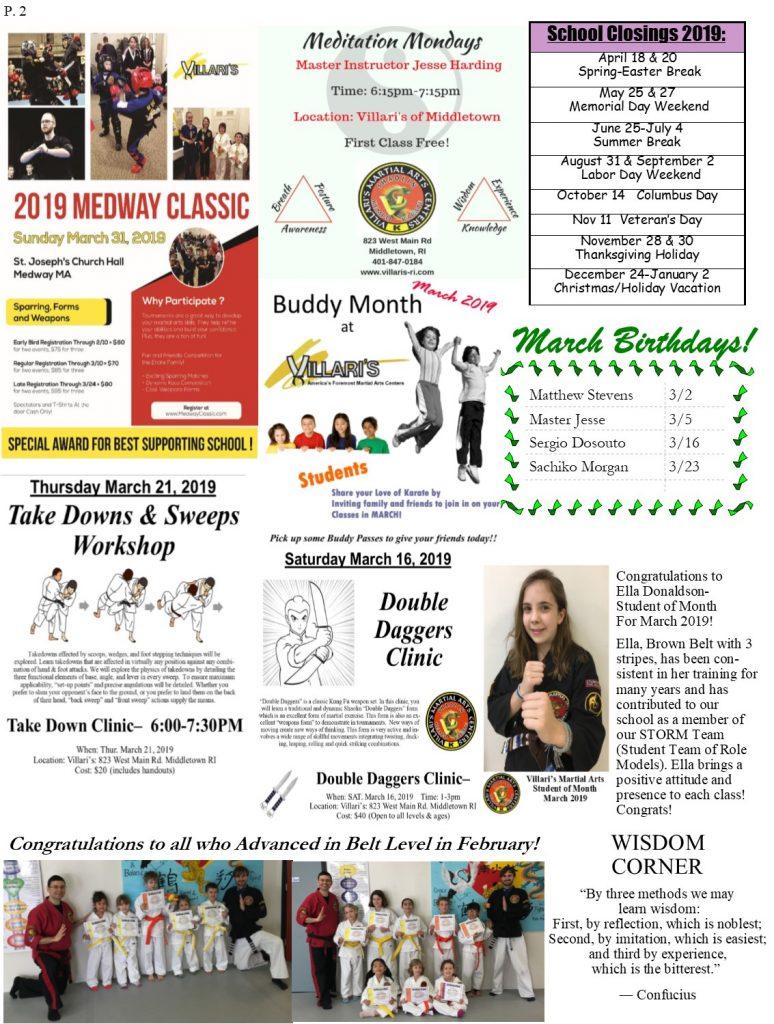 Villari's Martial Arts Newsletter MARCH 2019 p2 villaris-ri.com