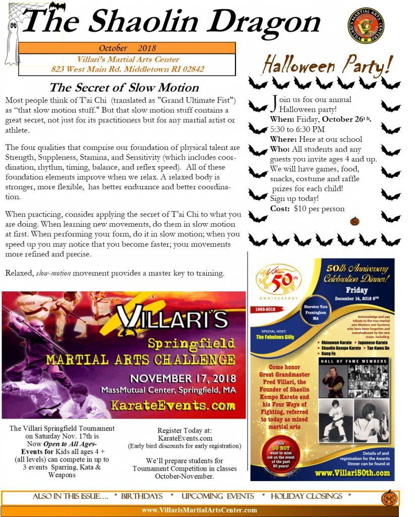 Villari's Martial Arts Newsletter OCT 2018 p1 villaris-ri.com Middletown RI