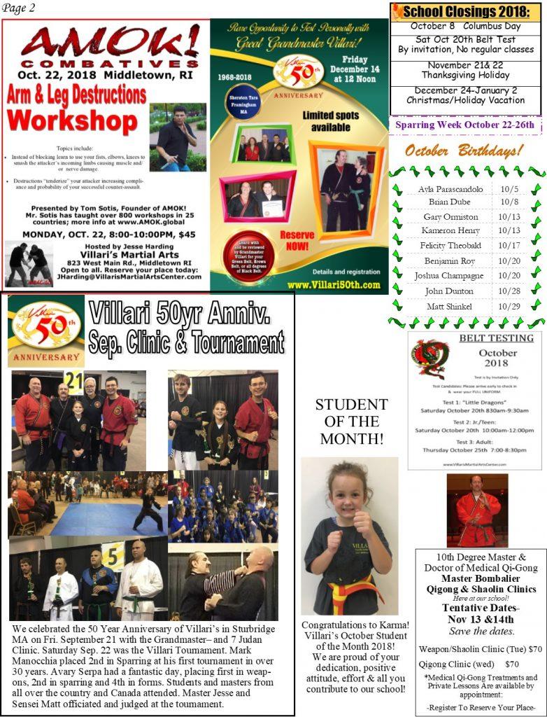 Villari's Martial Arts Newsletter OCT 2018 p2 villaris-ri.com Middletown RI