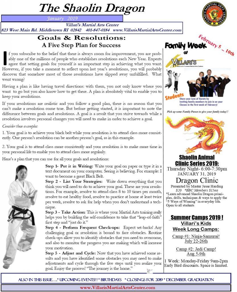 Villari's Martial Arts Newsletter P1 JAN 2019 villaris-ri.com Middletown RI