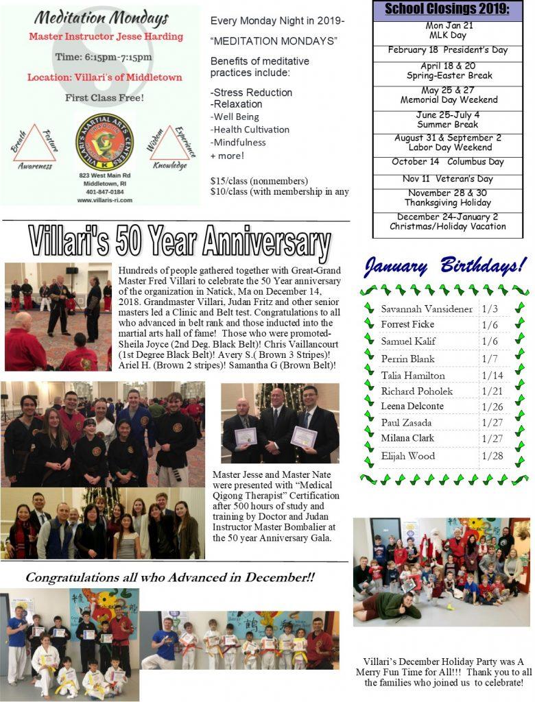 Villari's Martial Arts Newsletter P2 JAN 2019 villaris-ri.com Middletown RI