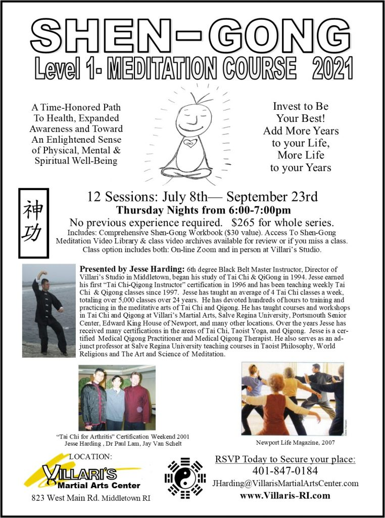 SHEN GONG Meditation Level 1 Course Summer 2021 July 8 to Sep 23 Thur 6to7 Jesse Harding