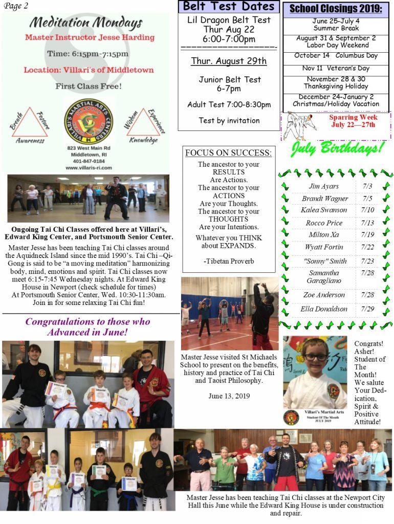 Villaris Martial Arts NEWSLETTER JULY 2019 p2 villaris-ri.com Middletown RI