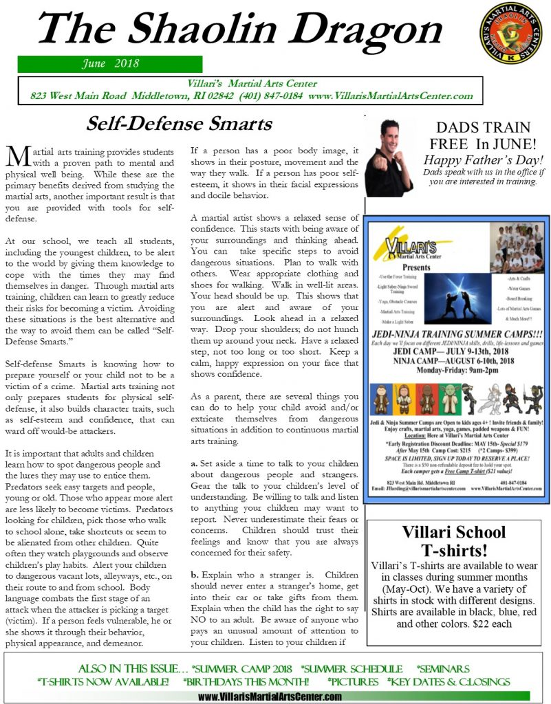 Villari's Martial Arts NEWSLETTER JUNE 2018 p1