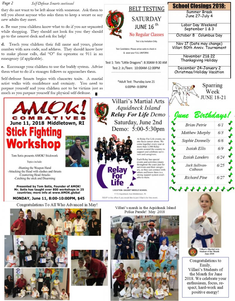 Villari's Martial Arts NEWSLETTER JUNE 2018 p2