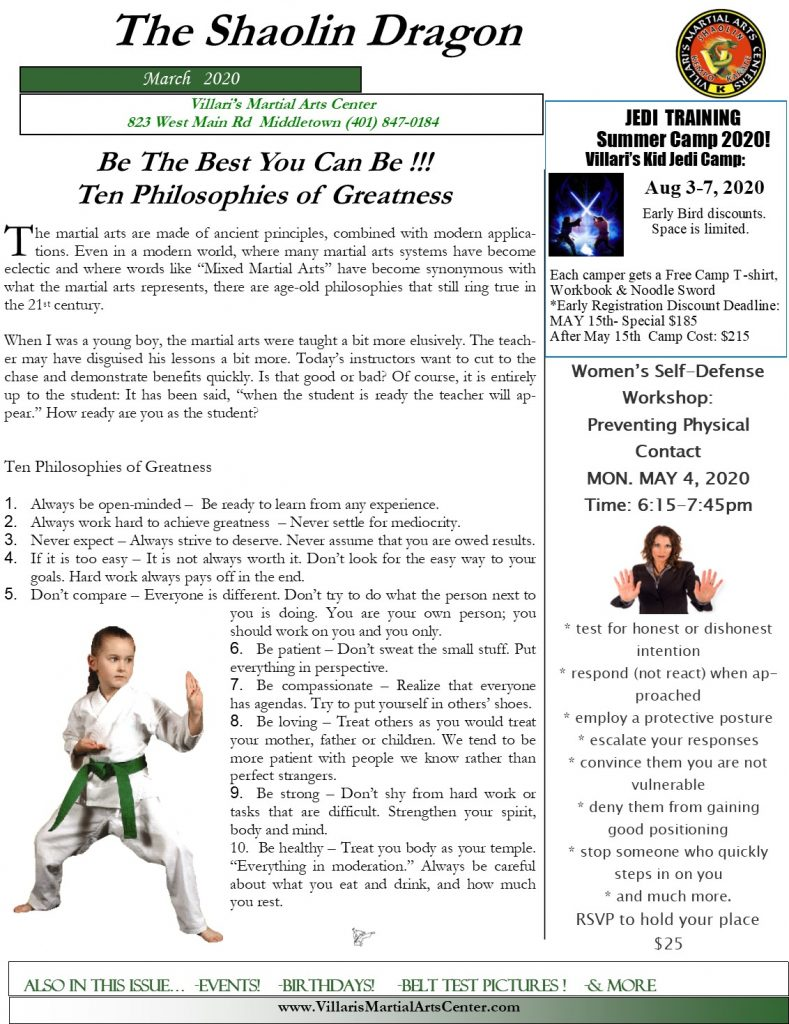 Villari's Martial Arts NEWSLETTER MAR 2020 P1 villaris-ri.com