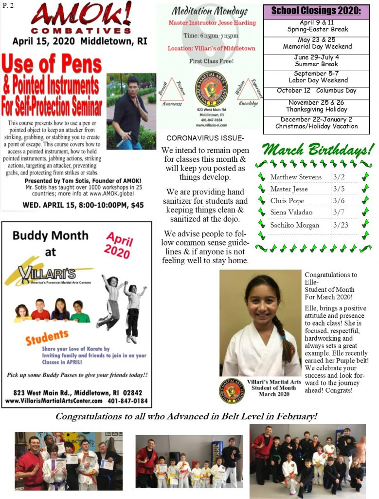 Villari's Martial Arts NEWSLETTER MAR 2020 P2 villaris-ri.com