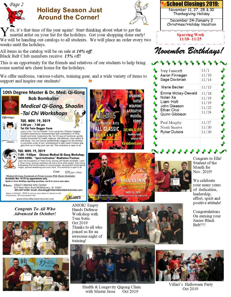Villari's Martial Arts NEWSLETTER NOV 2019 p2 villaris-ri.com