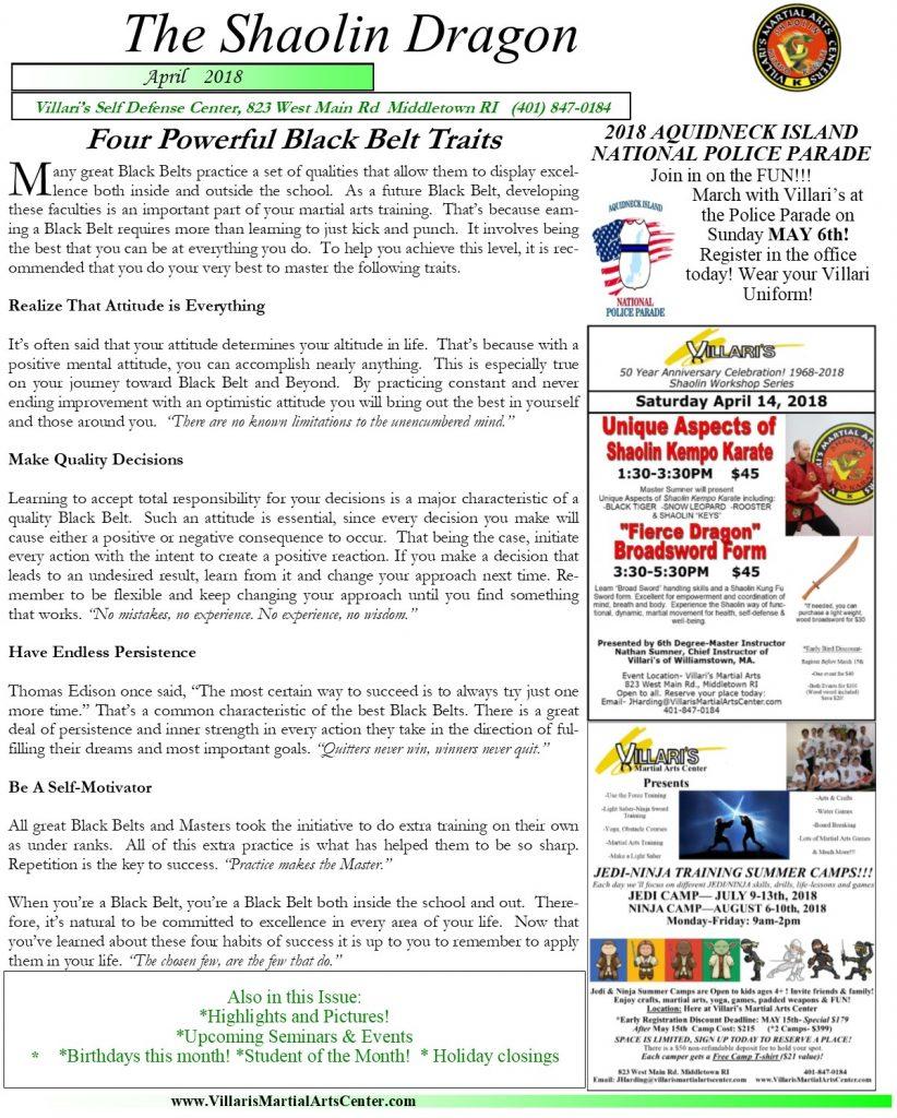 Villaris Martial Arts Newsletter APRIL 2018 p1 Jesse Harding