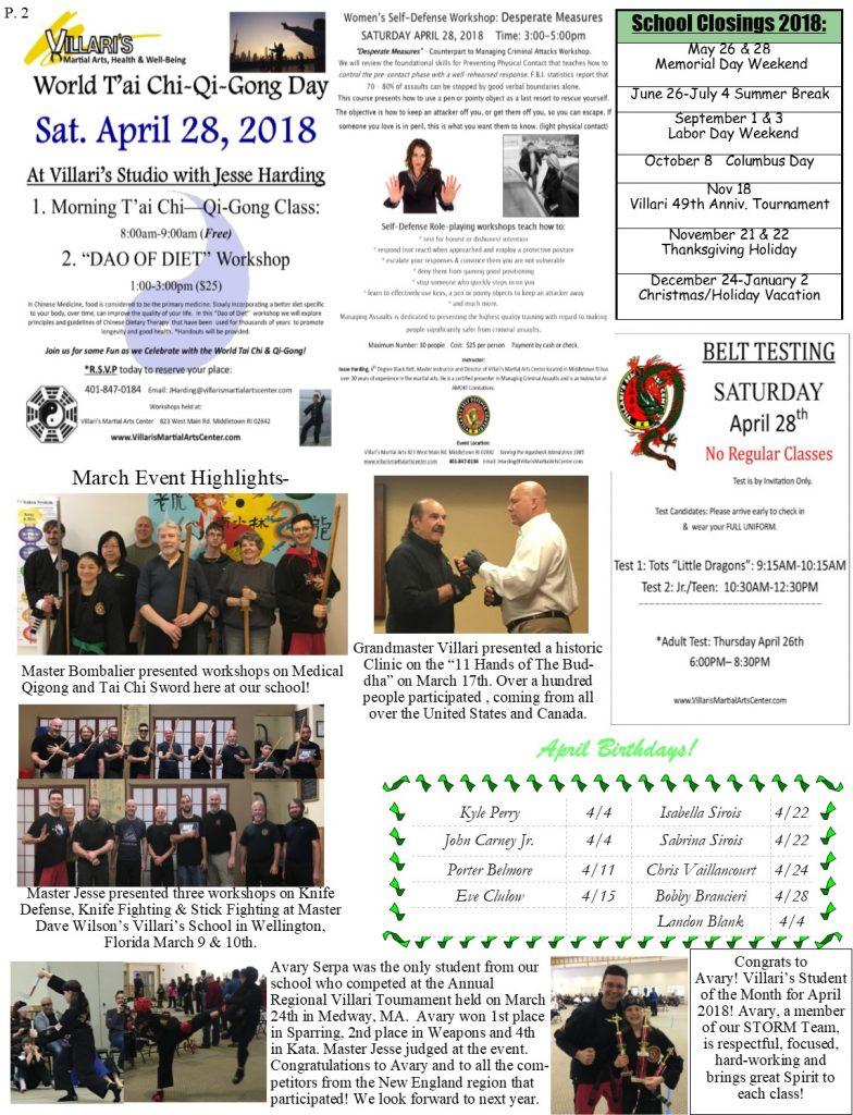 Villaris Martial Arts Newsletter APRIL 2018 p2 Jesse Harding