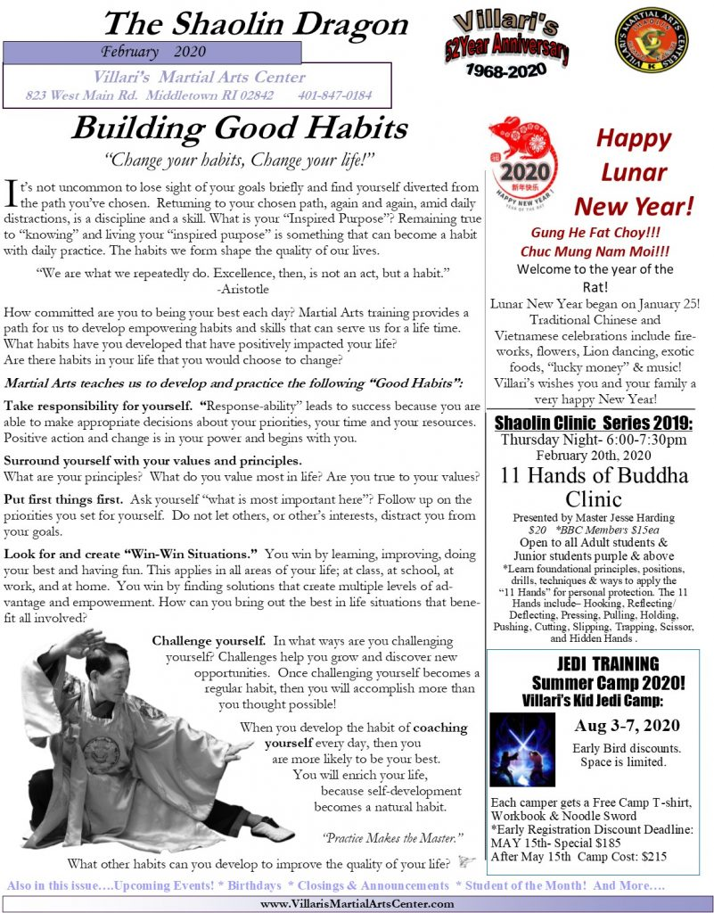 Villari's Martial Arts Newsletter Feb 2020 P1 villaris-ri.com