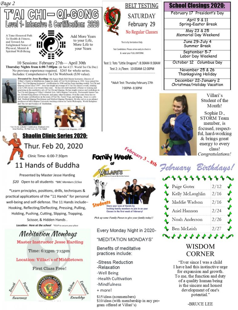 Villari's Martial Arts Newsletter Feb 2020 P2 villaris-ri.com