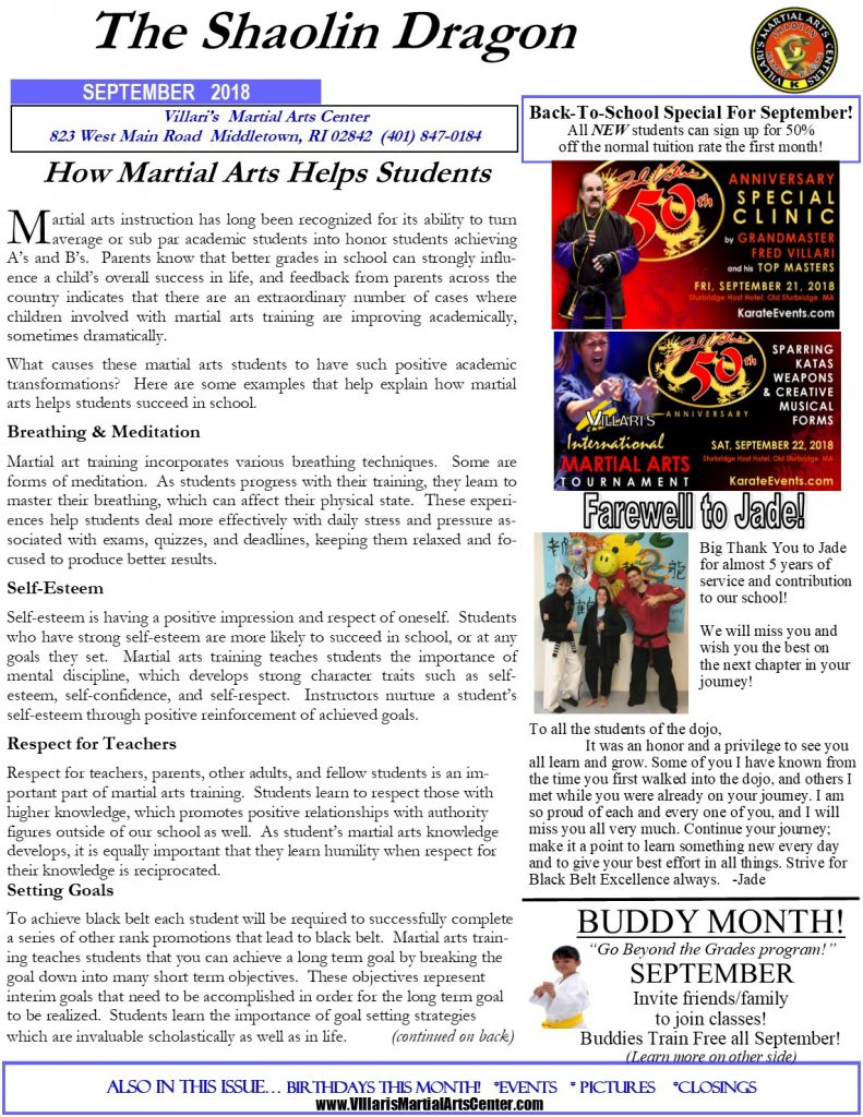 Villari's Martial Arts Newsletter Sep 2018 p1 middletown RI villaris-ri.com