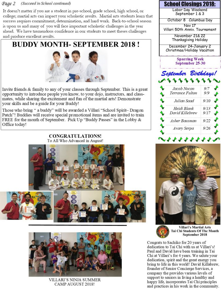 Villari's Martial Arts Newsletter Sep 2018 p2 middletown RI villaris-ri.com