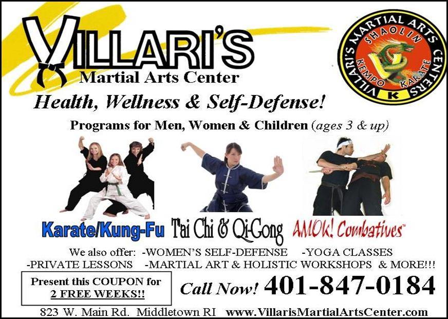 Villaris Martial Arts quarter page music boosters