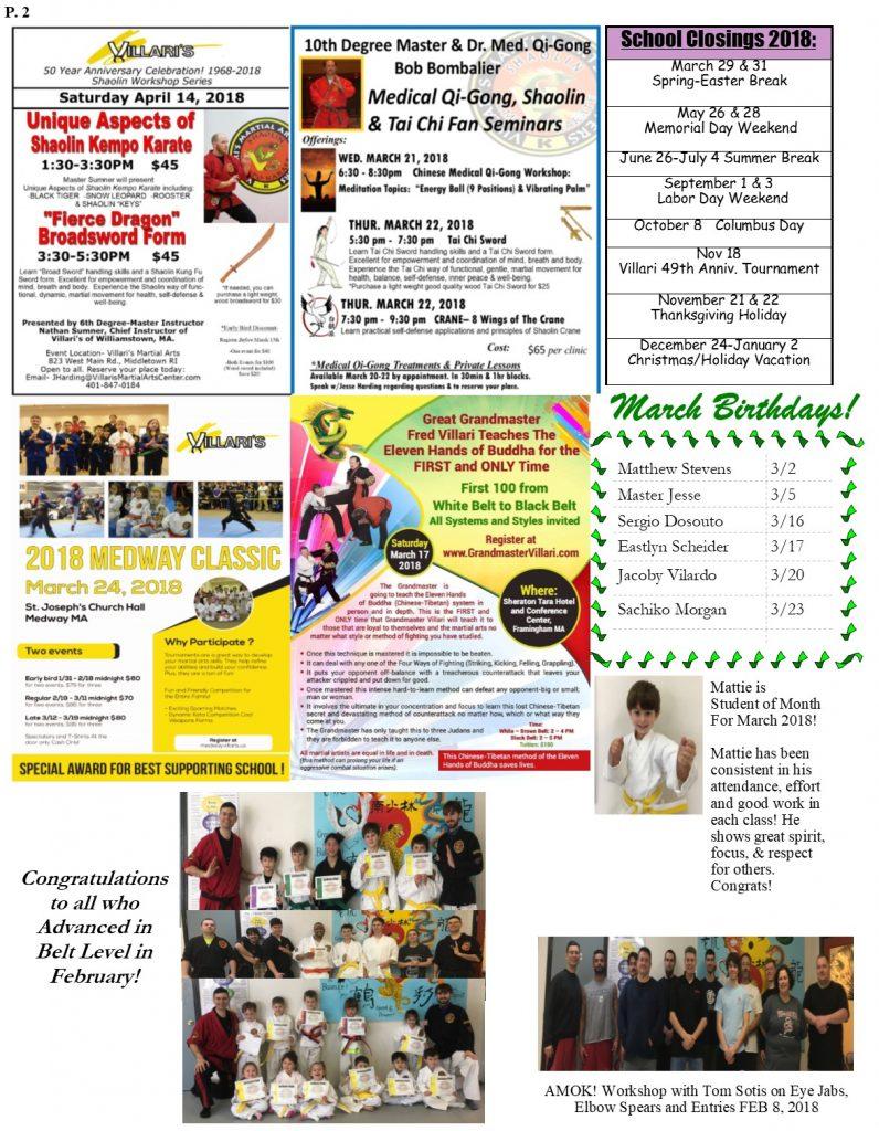 VillarisMartialArts NEWSLETTER MARCH 2018 p2