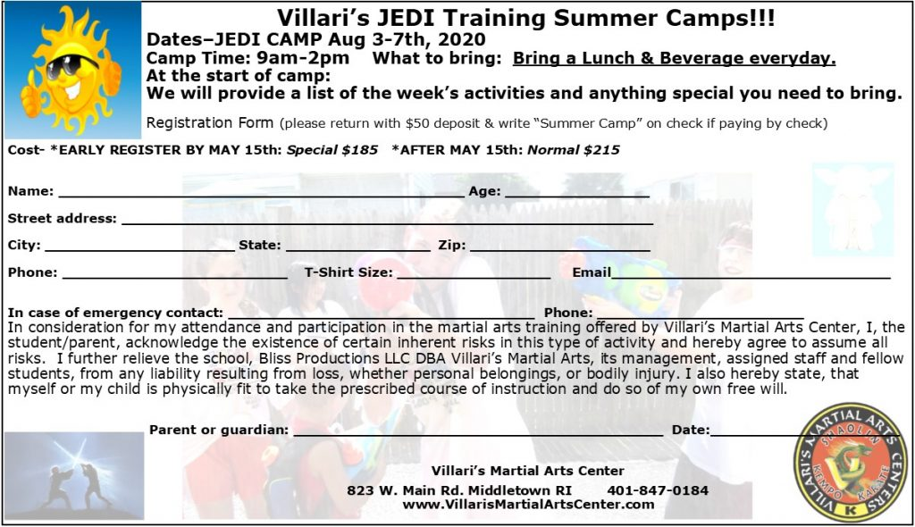 JEDI CAMP villaris-ri.com Aug 3-7 2020 Enrollment Form Villari's Martial Arts