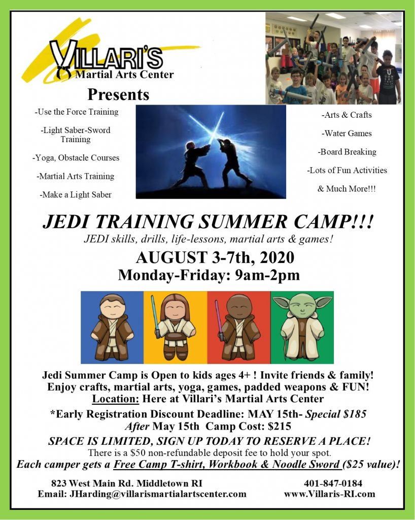 JEDI SUMMER CAMP AUGUST 3-7 2020 Villari's Martial Arts
