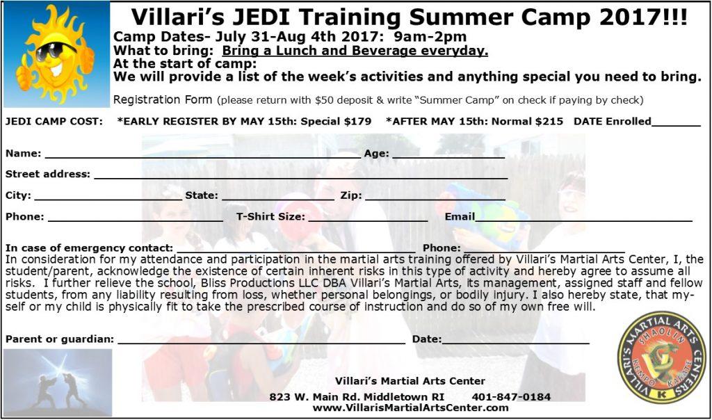 Kids Jedi Sum Camp Registration Form 2017