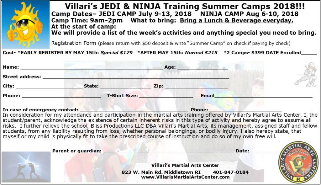 Permission Slip Jedi Ninja Summer Camps 2018 www.villaris-ri.com Villari's Studio Middletown RI